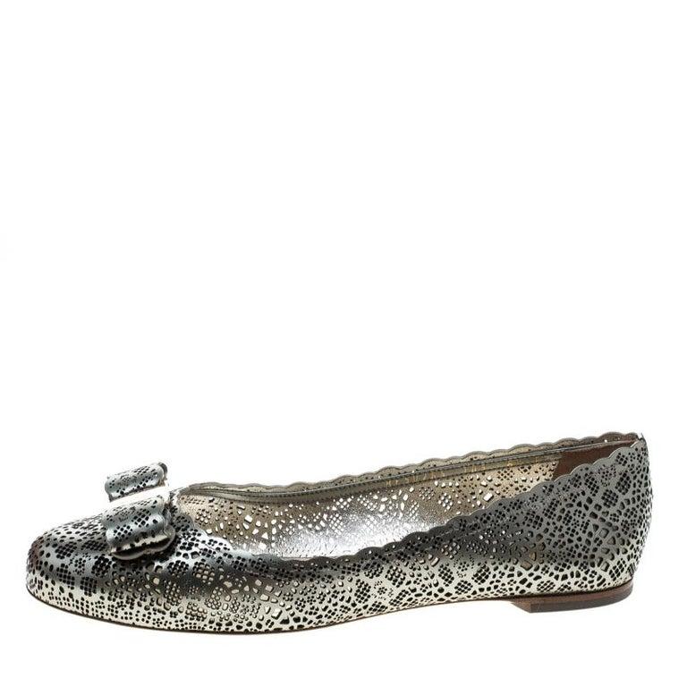Salvatore Ferragamo Metallic Grey Perforated Leather Varina Bow Ballet Flats Siz