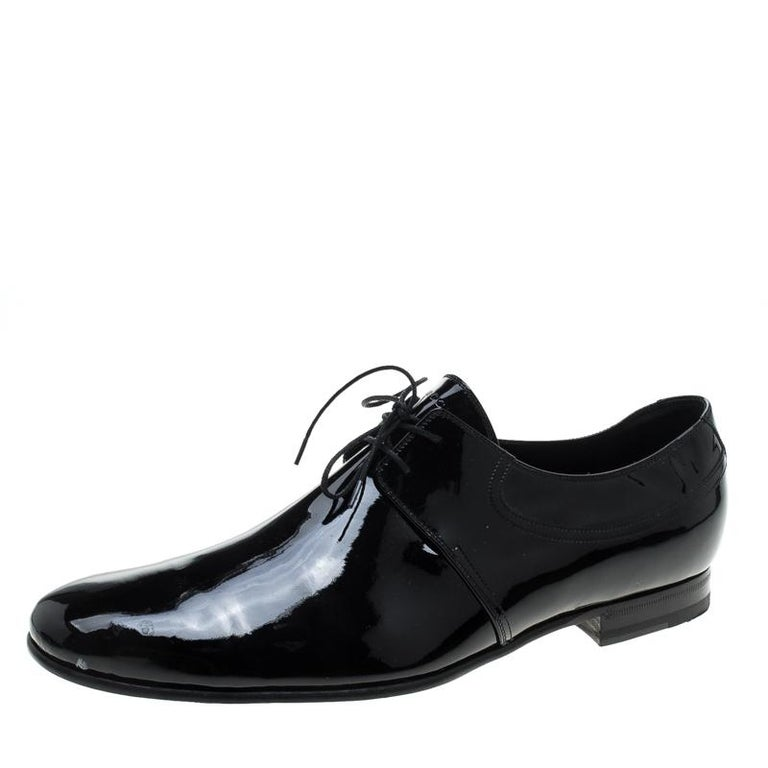eeb49539af0 Gucci Black Patent Leather Lace Up Derby Size 45