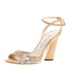 Jimmy Choo Metallic Rose Gold Coarse Glitter and Leather Miranda Peep Toe Ankle