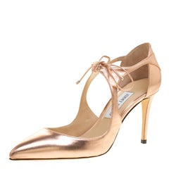 Jimmy Choo Metallic Tea Rose Leather Vanessa Pointed Toe Cut Out Pumps Size 39