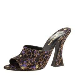 Prada Black Floral Silk Brocade Mule Sandals Size 39