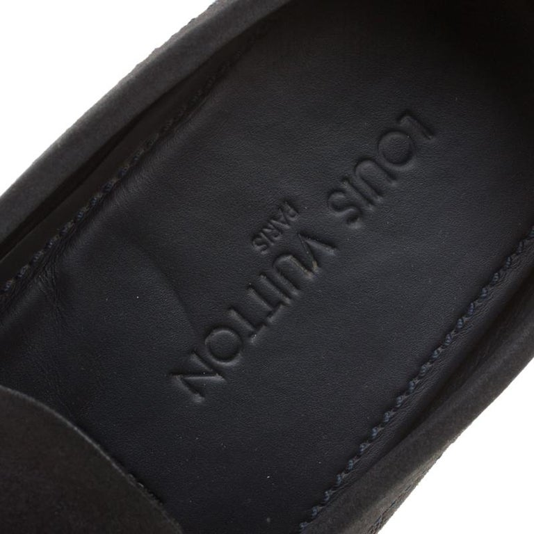 d138bdffb86b Women s Louis Vuitton Dark Blue Damier Embossed Suede Shade Penny Loafers  Size 44 For Sale