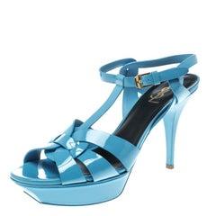 Saint Laurent Paris Blue Patent Leather Tribute Platform Sandals Size 41