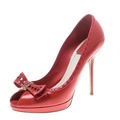 Dior Coral Leather Bow Peep Toe Platform Pumps Size 41