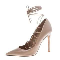 Valentino Beige Leather Rockstud Lace Up Pointed Toe Pumps Size 38