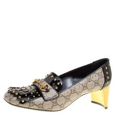 Gucci Beige/Black GG Supreme Canvas and Patent Leather Studded Fringe Loafer Pum