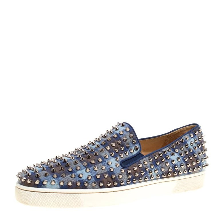 72a456f2090f Christian Louboutin Blue Check Canvas Roller Boat Spiked Slip On Sneakers  Size 4 For Sale