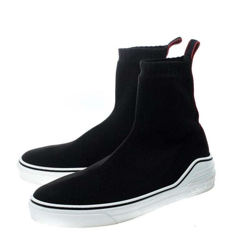 00a58a810e2fe Givenchy Black Knitted Fabric George V Mid Sock Sneakers Size 42 For Sale 1