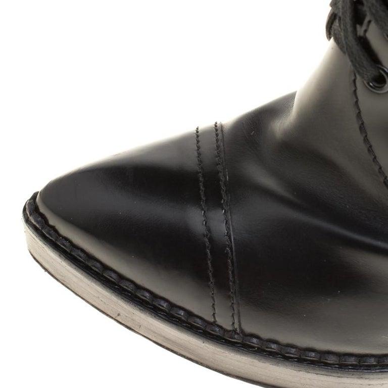 ba069940b75 Gucci Black Leather Riddle Lace-Up Platform Knee Boots Size 39 For Sale 2