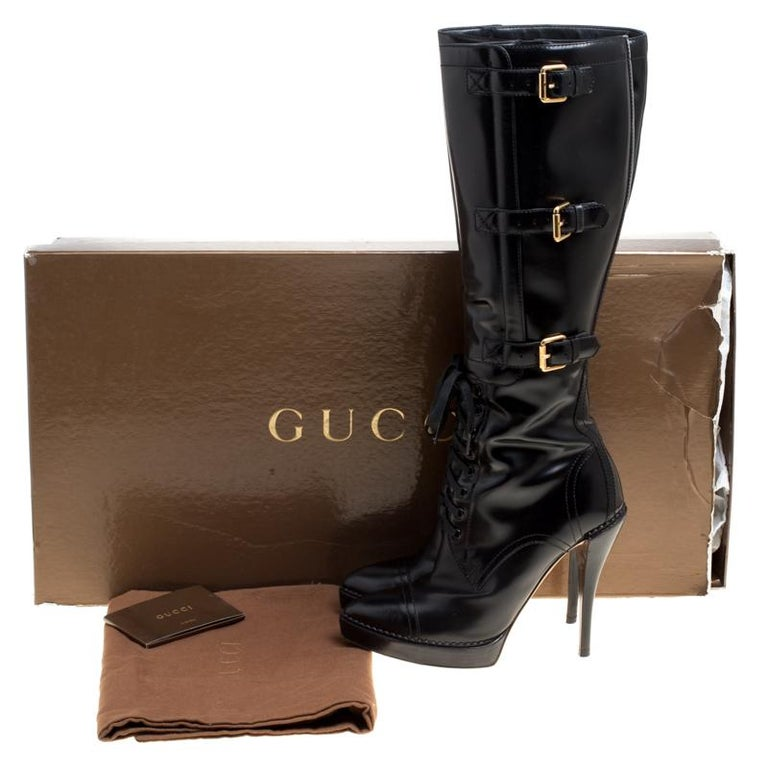 1b9f0f738f2 Gucci Black Leather Riddle Lace-Up Platform Knee Boots Size 39 For Sale 4