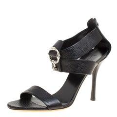 Gucci Black Leather Sandals Size 39.5