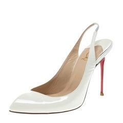 Christian Louboutin Off White Patent Leather Fleuve Slingback Sandals Size 39