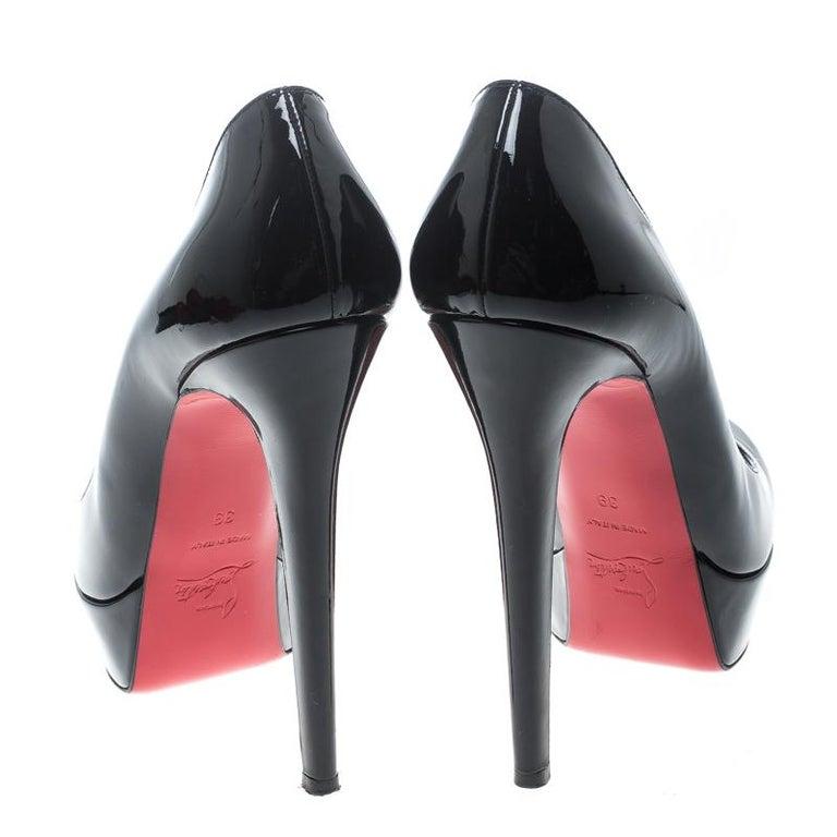 aa4ba82145c Christian Louboutin Black Patent Leather Bianca Platform Pumps Size 39