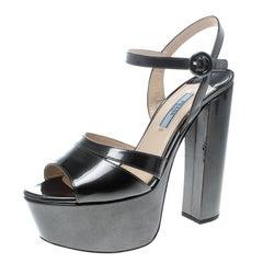 Prada Green Patent Leather Ankle Strap Block Heel Platform Sandals Size 38.5
