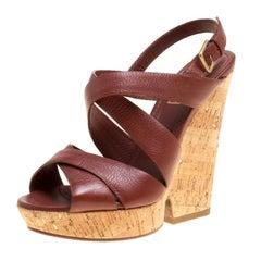 Saint Laurent Brown Leather Deauville Crisscross Strappy Wedge Sandals Size 37