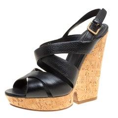 Saint Laurent Black Leather Deauville Crisscross Strappy Wedge Sandals Size 37