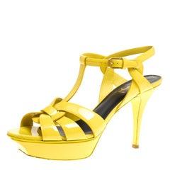 Saint Laurent Paris Yellow Patent Leather Tribute Platform Sandals Size 40