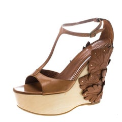 Alexander McQueen Tan 3D Flower T-Strap Wedge Sandals Size 40