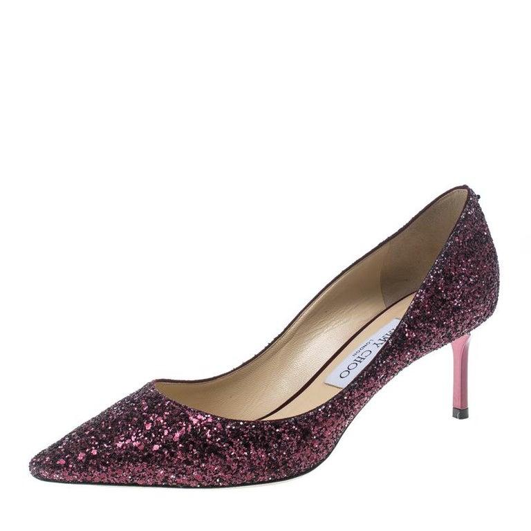 a3ce4726997c Jimmy Choo Metallic Purple Coarse Glitter Romy Pointed Toe Pumps Size 39  For Sale