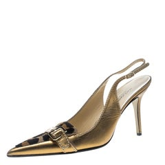Dolce and Gabbana Brown/Bronze Pony Hair and Leather Pointed Toe Slingback Sanda