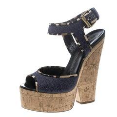 Giuseppe Zanotti Navy Blue Denim Cork Heel Platform Wedge Sandals Size 37
