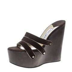 Jimmy Choo Brown Suede Platform Wedge Sandals Size 37.5