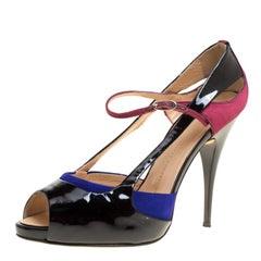 Giuseppe Zanotti Black Patent Leather Ankle Strap Peep Toe Platform Sandals Size