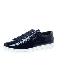 Prada Sport Navy Blue Patent Leather Lace Up Sneakers Size 39