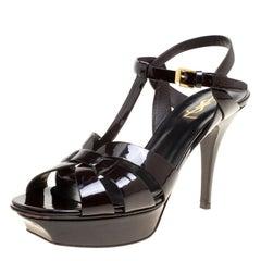Saint Laurent Paris Brown Patent Leather Tribute Platform Sandals Size 39.5