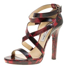 Jimmy Choo Two Tone Leather Criss Cross Ankle Strap Platform Sandals Size 40.5