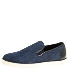 Bottega Veneta Blue Cotton Denim Slip On Sneakers Size 43