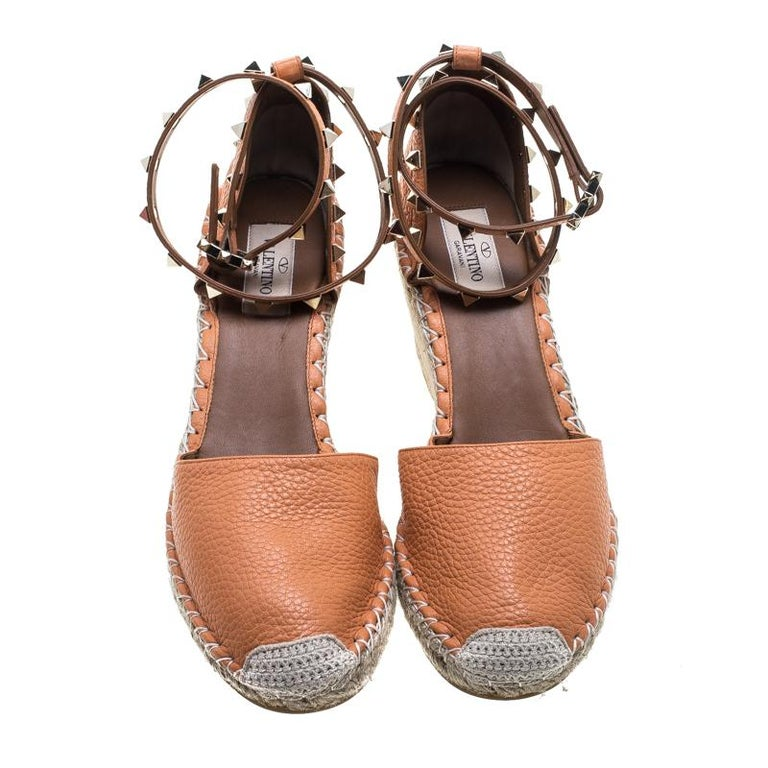 1b11c970539 Valentino Tangerine Orange Leather Rockstud Ankle Strap Wedge Espadrille  Sandals For Sale. Designed purposely for fashion queens like you