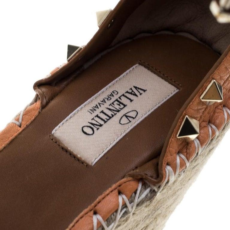 2b87eae5d88 Valentino Tangerine Orange Leather Rockstud Ankle Strap Wedge Espadrille  Sandals For Sale 1