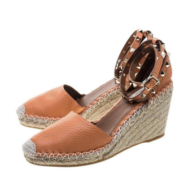 6b225fc415a Valentino Tangerine Orange Leather Rockstud Ankle Strap Wedge Espadrille  Sandals For Sale 2