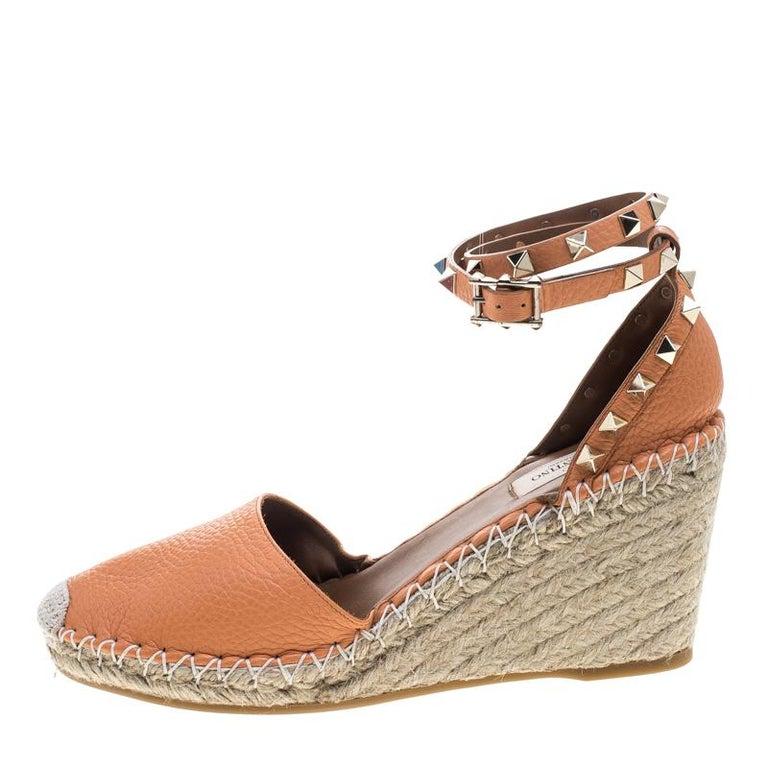 a221dd257e0 Valentino Tangerine Orange Leather Rockstud Ankle Strap Wedge Espadrille  Sandals For Sale 3