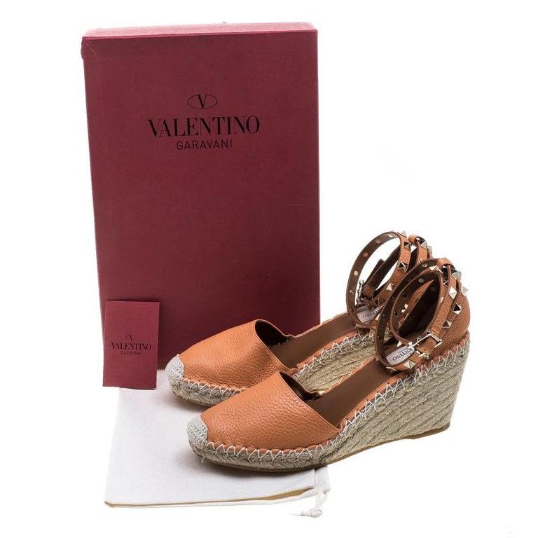 599b39c0847 Valentino Tangerine Orange Leather Rockstud Ankle Strap Wedge Espadrille  Sandals For Sale 4