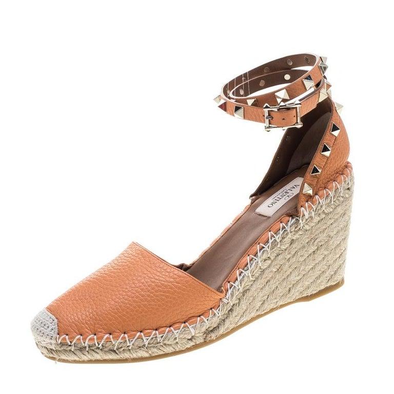 85b2eeb2967 Valentino Tangerine Orange Leather Rockstud Ankle Strap Wedge Espadrille  Sandals For Sale
