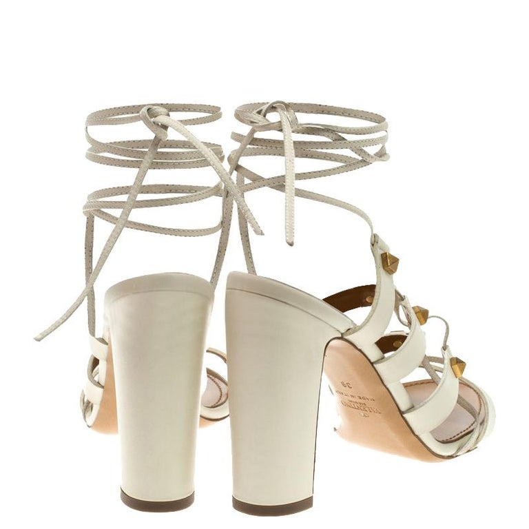 b0eeff0be1 Valentino White Leather Rockstud Block Heel Gladiator Lace Up Sandals Size  39 In New Condition For