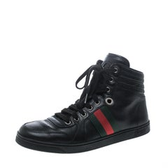 Gucci Black Leather Web Detail High Top Sneakers Size 40.5