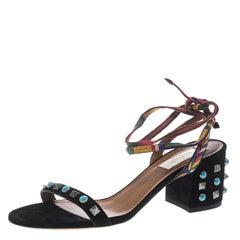 Valentino Black Suede Rockstud Rolling Block Heel Ankle Wrap Sandals Size 37.5