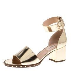 Valentino Gold Leather Soul Rockstud Ankle Strap Block Heel Sandals Size 37