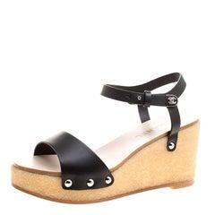 Chanel Black Leather Ankle Strap Platform Wedge Sandals Size 39.5