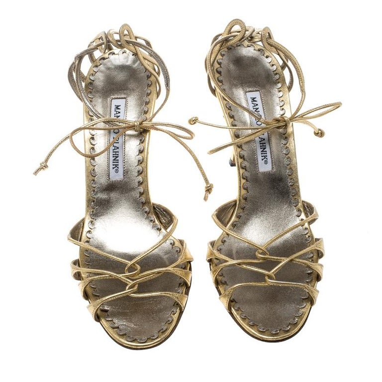 1ef4fe8e7922 Manolo Blahnik Metallic Gold Leather Strappy Ankle Wrap Sandals Size 38 For  Sale. Chic