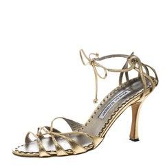 Manolo Blahnik Metallic Gold Leather Strappy Ankle Wrap Sandals Size 38