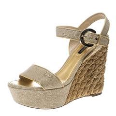 Louis Vuitton Beige Canvas Tuileries Platform Wedge Ankle Strap Sandals Size 38