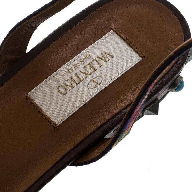 895d405df45a Valentino braune Leder Rockstud Rolling Knöchelhohe Flache Sandalen Größe 39  8
