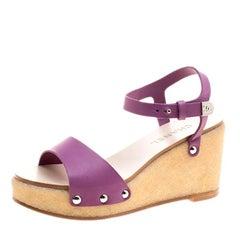 Chanel Purple Leather Ankle Strap Platform Wedge Sandals Size 39