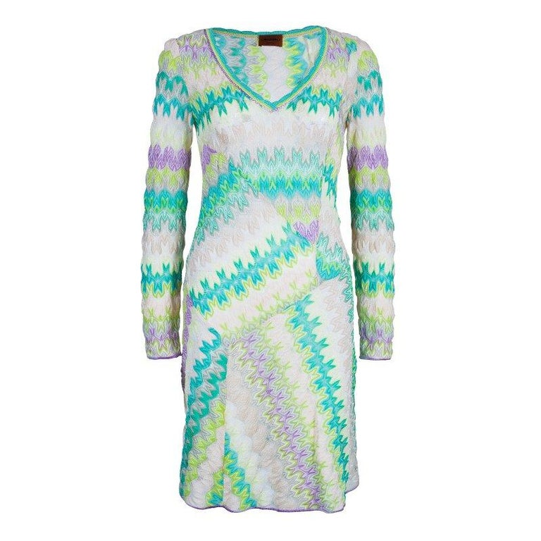 850f8146e Missoni Multicolor Knit Long Sleeve Knee Length Dress S at 1stdibs