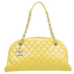 Chanel Yellow Quilted Aged Calfskin Leather Mademoiselle Bowling Bag
