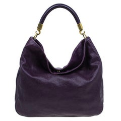 Saint Laurent Paris Purple Stingray Embossed Leather Roady Hobo
